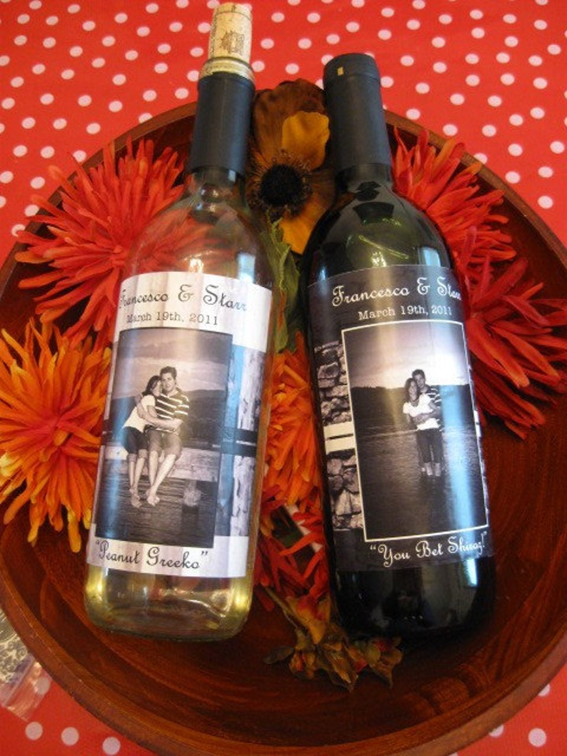 Wine bottle labels custom design and printing with photograph weatherproof vinyl stickers