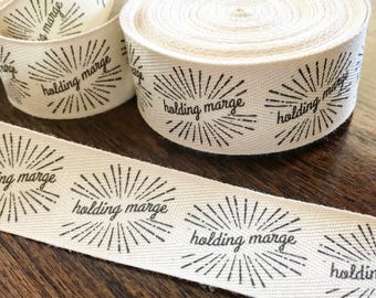 Twill, One and One-Quarter Inch Ribbon, Spool - Flat or Folded, CUSTOM Printed Sew-in Fabric Label (natural and white)