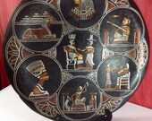PLATE Copper Decorative 16 quot Across Black Tole Paint on Copper with 7 Egyptian Scenes and Applied Silver