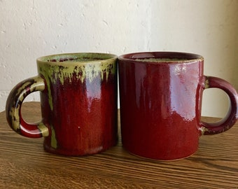 PIER 1 MUGS Two Pier One Crackle Collection Rust Mugs Drip Glaze