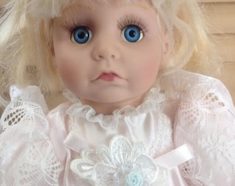 DOLL COLLECTIBLE PORCELAIN Pouty Doll in Pink Blonde Haired Doll with Pink Dress and Patent Leather Shoes Cloth Body