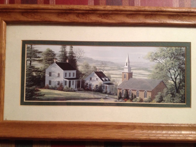 ARTWORK Pair of Nicely Framed and Matted Prints Farm Buggy Scene House Meeting Hall 13 12 x 7 12