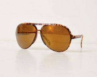 e00b2d4deac Vintage 70s 80s Brown Tortoise Oversized Aviator Sunglasses Brown Lenses