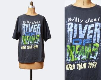 Vintage 90s BILLY JOEL TShirt / 1990s Rock N Roll River of Dreams Tour Concert Band T Shirt Shirt Medium Large