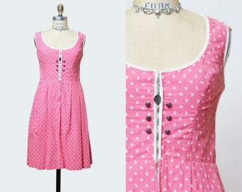Vintage 70s 80s Johanna Rappel Dirndl Dress Bavarian Paisley Print Pink White Extra Small