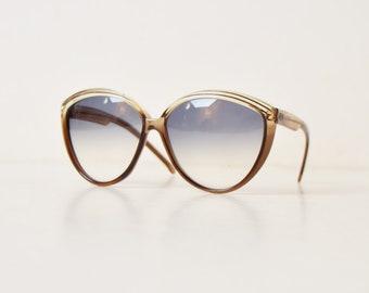 Vintage 70s Oversized Cateye Sunglasses 1970s Boho Hipster Brown Frames