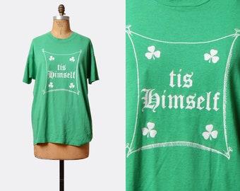 Vintage 80s Irish Shirt Tis Himself TShirt / 1980s T Shirt Retro Tee Irish Shamrock Top Graphic Green White Medium Large