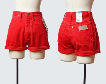 Vintage 90s Wrangler Denim Shorts Red Denim Shorts / 1990s Jean Shorts CUFFED High Waisted Hipster Vintage Small 25