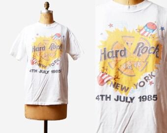 Vintage 80s Hard Rock Cafe TShirt / 1980s 4th of July New York Rock N Roll Grunge Hipster T Shirt Shirt m l