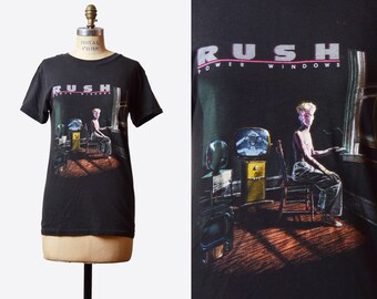 Vintage 80s Rush TShirt / 1980s Power Windows Tour Rock N Roll Concert Tour Band T Shirt Shirt s m