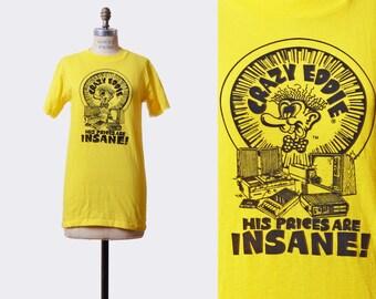 043b00c8355f9 Vintage 1980s Crazy Eddie TShirt 1980s Electronics Brooklyn His Prices are  Insane Boho Hipster T Shirt Graphic Tee Retro Tee Shirt Small xs