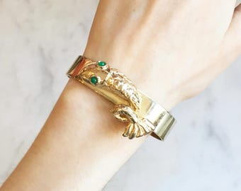 Vintage 60s 70s Fish Clamper Bangle Bracelet