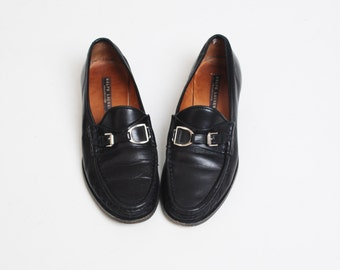 6d8903c89b4 Vintage 90s Ralph Lauren Buckle Loafers   1990s Black Leather Oxfords Shoes  6.5