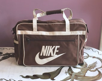 729ad2c39a Vintage 80s Nike Duffle Bag 1980s Brown and White Travel Tote