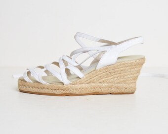 64a2a1af8 Vintage 90s ANADRE ASSOUS Espadrilles / 1990s White Leather Ankle Tie  Slingbacks Wedges 7