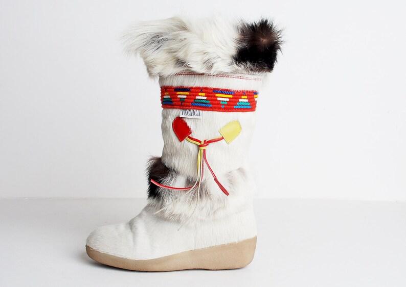 Vintage 70s 80s Tecnica Fur Apres Ski Boots 6 36