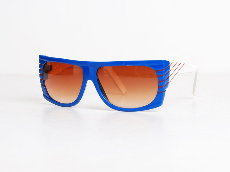 fc206fcc75d17 Vintage 80s Oversized Blue Red White Striped Frame Sunglasses