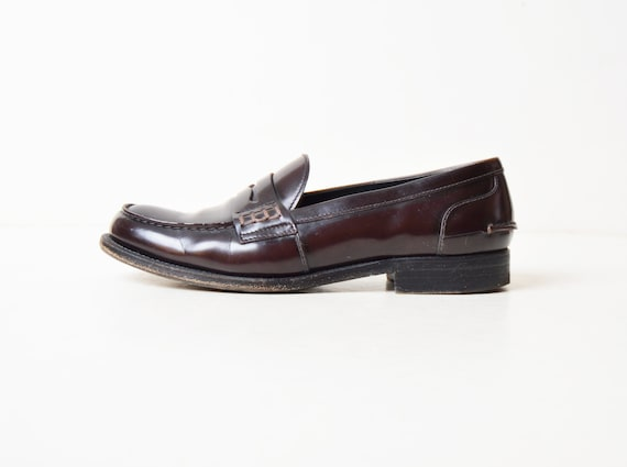 Prada Penny 90s Leather 8 Oxfords Oxblood Loafers Vintage Shoes 1990s 5PBEnR44