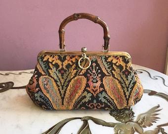 Vintage 60s MOD Floral Tapestry PURSE 1960s Black Floral Bamboo Handle Carpet Bag