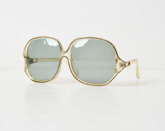 Vintage 70s Oversized Sunglasses 1970s Clear Gray and Black Frames