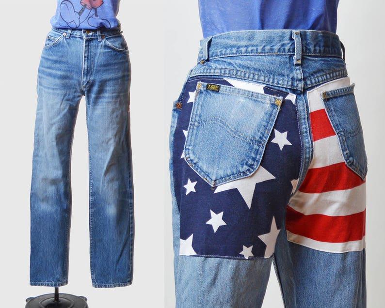 c5926bd8 Vintage 80s jeansy Lee amerykańską flagę Patchwork Szczupła Wysoka talia  dżinsy / 1980 roku Mama Jeans niebieski Denim Lee spodnie Hipster Slim ...
