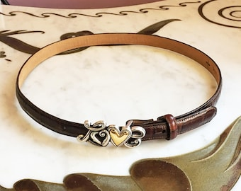 Vintage 90s Brown Leather LOVE Buckle Belt  / 1990s Brighton Leather Skinny Belt with Silver Gold Buckle m