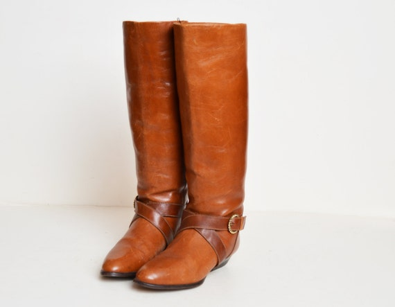 Harness Buckle 90s High Leather Tall BOOTS 1990s Vintage Boots 5 5 BROWN Riding Knee E1wqxg