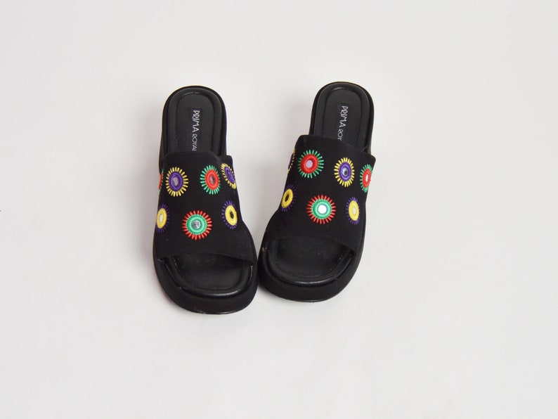a769d28ad5d50 Vintage 90s Fabric Slides / Black Shisha Embroidered Sandals / Platform  Shoes 8.5