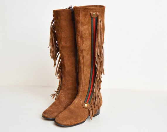 Narrow 60s BOOTS Brown Suede Knee High Fringe 5 GoGo Vintage Leather 1960s Boots Tall wAqtxdO