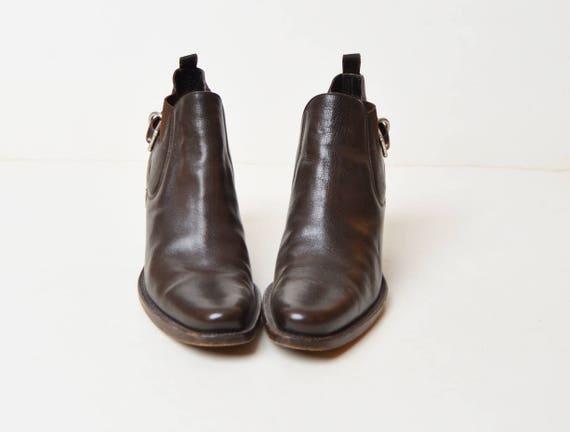 Vintage 90s Brown Chelsea Ankle Boots / Prada 199… - image 2