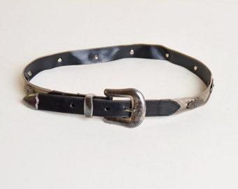 Vintage 90s Designer Black Leather Mesh STUDDED Metal BELT / 1990s Silver Metal Belt Studs S M