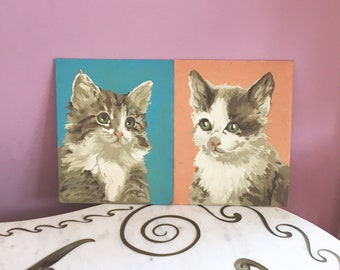 Vintage 50s 60s Paint by Numbers Kittens Paintings Kitty Cats Maine Coon Pair PBN