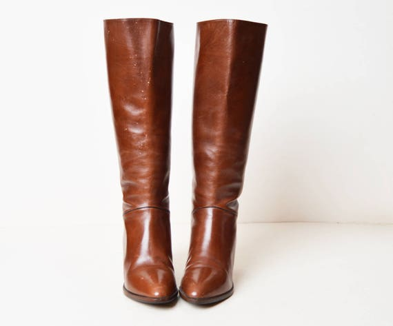 70s Heel High Tall Brown 1970s Vintage 6 Leather Boots Boots dZEqAAwx6