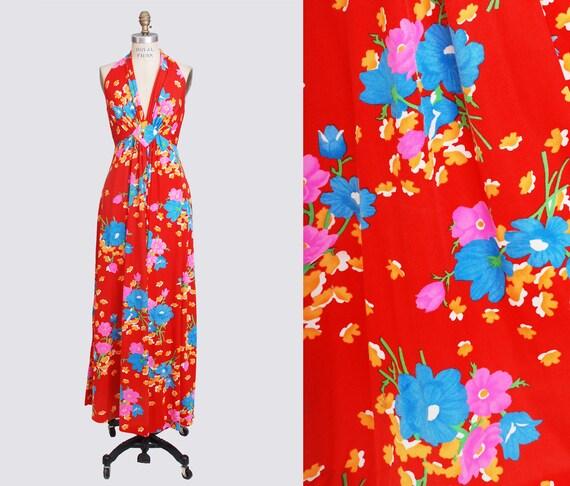 00354a7e72e7 Vintage 70s Floral Sundress Halter Neck Maxi Dress Hippie