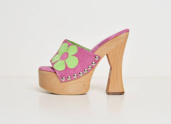 ad83def6695 90s Sandals Madden Steve Heels High and Flower Slide 5 1990s Clogs Suede  Green Vintage Wood ...
