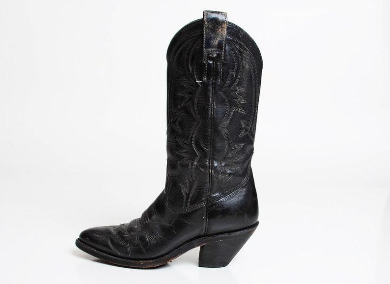 e52440892efb Vintage 70s Black Leather COWBOY BOOTS   1970s Lizard Skin 5.5