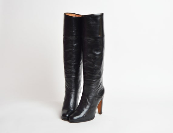 1970s Black Leather High Heel Boots 70s Knee High Boots by