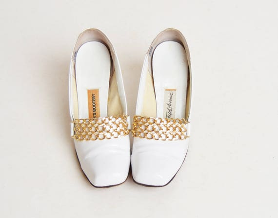 High MOD Oxfords 5 White Bootery Chain Patent Loafers 60s Beth's 1960s Vintage Heel 5 Awq05ZA