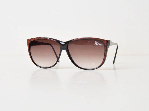 d0b32fa4bc Vintage 70s 80s Oversized Black and Brown Sunglasses