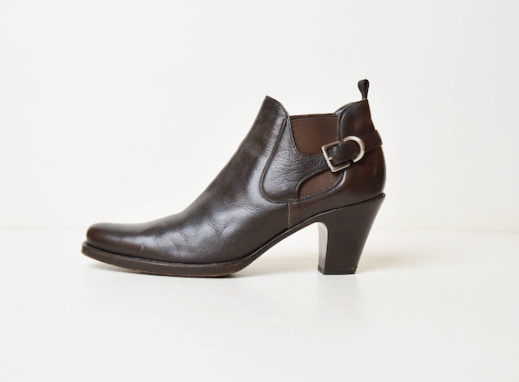 Vintage 90s Brown Chelsea Ankle Boots / Prada 199… - image 1