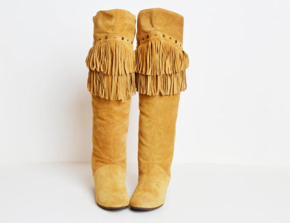 9 Leather High Fringe TAN Brown Knee Boots Suede BOOTS Studded Vintage Tall 1970s Fringe 70s 7xqzn6wvH