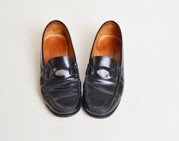 Vintage 90s Black Tods LOAFERS / 1990s Brogues Sho