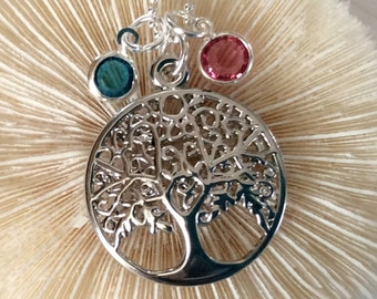 Silver Plated Family Tree necklace with 2 Swarovski channel birthstones, family necklace, wedding, sister, Mother, Grandma jewelry
