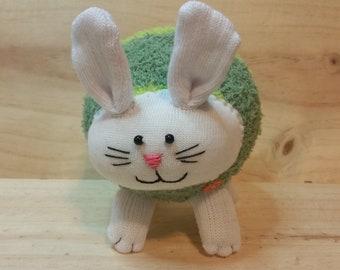 Hopper the sock bunny, handmade, sock animal, plush bunny