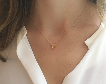 Citrine Necklace, Gold Citrine Necklace, November Birthstone, Yellow Birthstone, Simple Necklace, Minimalist Necklace, Gift For Her