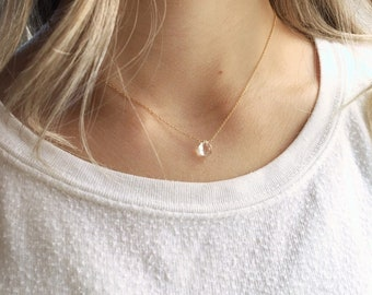 Crystal Necklace, April Birthstone Necklace, Gold Crystal Necklace, Gift for Her, Bridesmaid Gifts, Graduation Gift