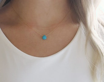 Birthstone Necklace, December Birthstone Necklace, Dainty Necklace, Personalized Gift, Turquoise Necklace, Bridesmaid Gifts, Graduation Gift