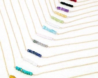 Gemstone Bar Necklace, Gold Birthstone Necklace, Bead Bar Necklace, Dainty Gemstone Necklace, Beaded Necklace, 14k Gold Filled, Silver