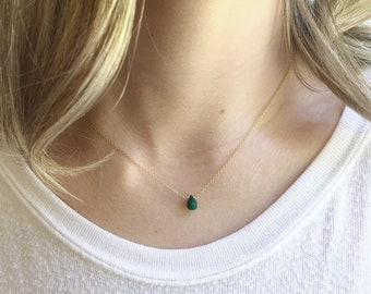 Genuine Emerald Necklace, Gold Emerald Necklace, May Birthstone, Gift for Her, Dainty Necklace, Teardrop Emerald, Layering Necklace