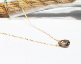Smoky Quartz Necklace - Simple Gemstone Necklace - Gold Smoky Quartz Necklace - Brown Stone - 14k Gold Filled - Smokey Quartz Necklace